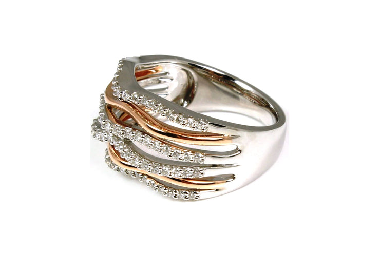 Rose and White Gold Diamond Orbit Fashion Ring