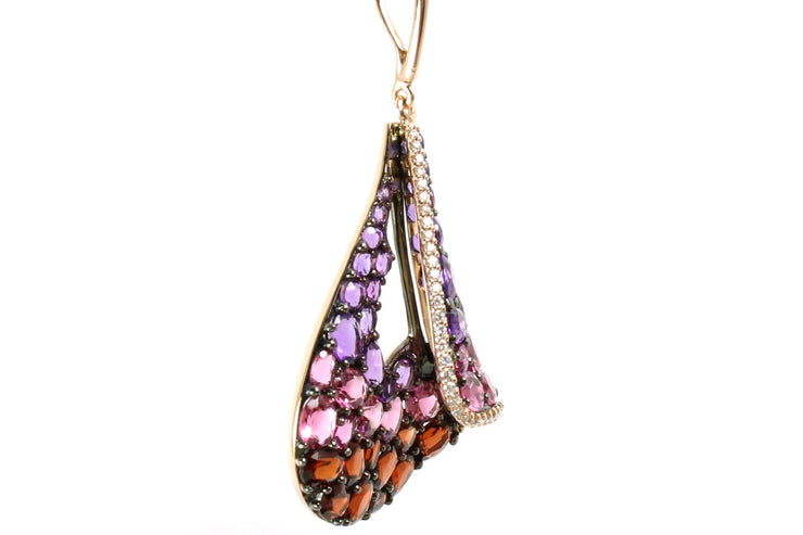 Amethyst, Pink Tourmaline, Garnet, and Diamond Sail Necklace
