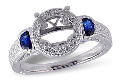Sapphire and Diamond Halo Fashion Ring Setting