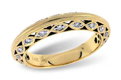 Fancy Milgrain Diamond Wedding Band
