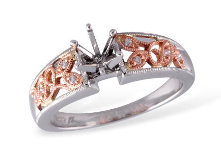 Milgrain Rose Diamond Ring Setting