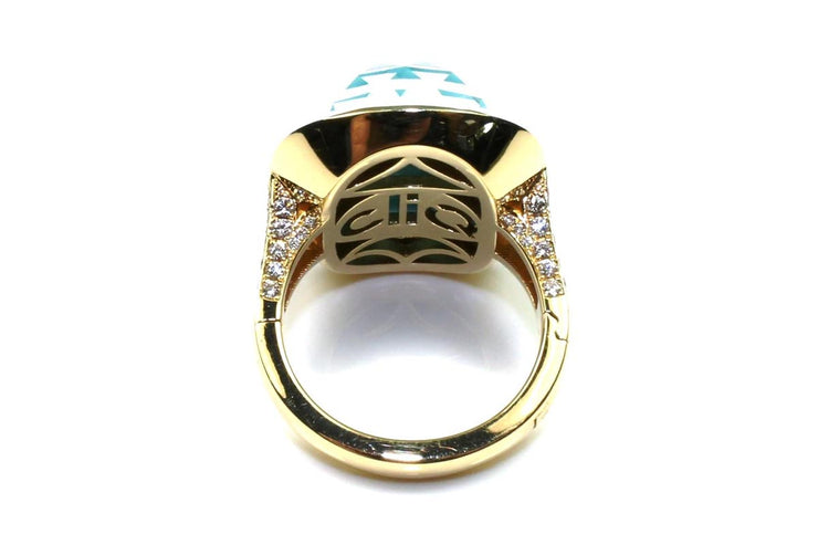 """Riviera"" Turquoise, Quartz, and Diamond Ring with Superfit Shank"