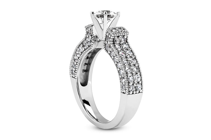 1.02ctw Engraved Engagement Ring Setting