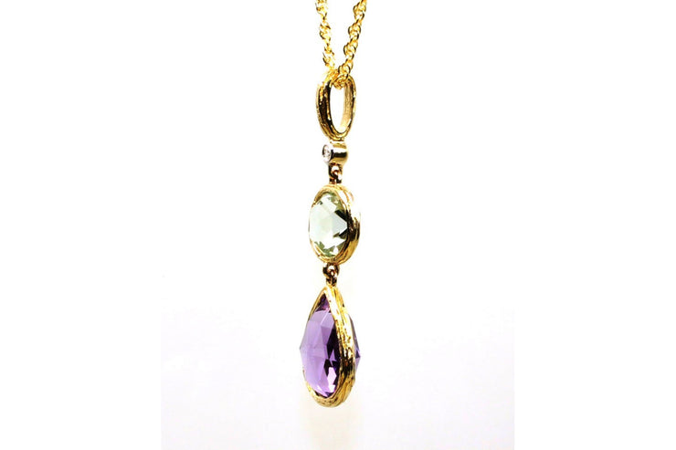 Purple and Green Amethyst Rock Candy Necklace