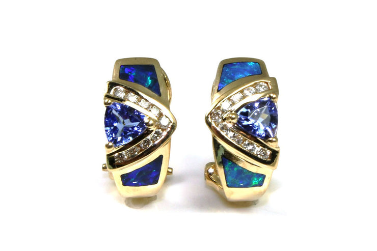 Tanzanite, Opal, and Diamond Earrings