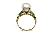 8.5mm Pearl with Baguette Diamond Ring