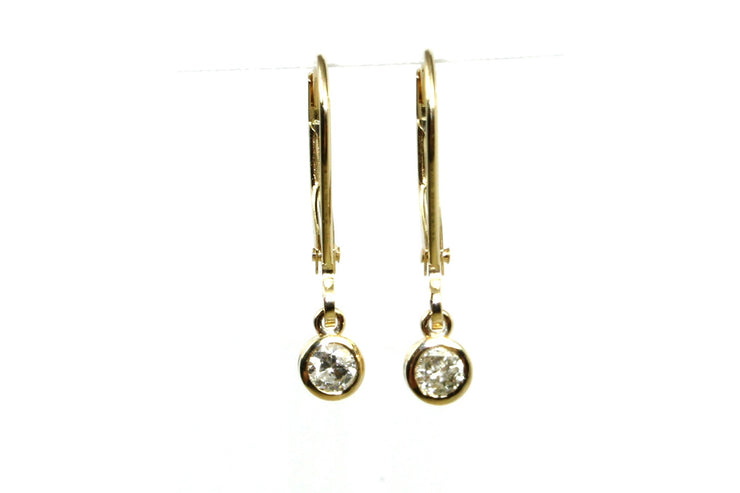 .20ctw Diamond Bezel Set Dangle Earrings