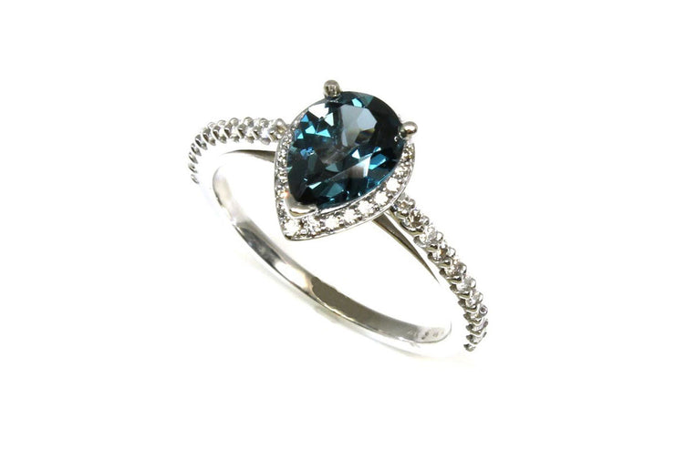 London Blue Topaz with a Diamond Halo Ring