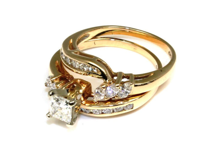1.02 Carat Princess Diamond Ring Set