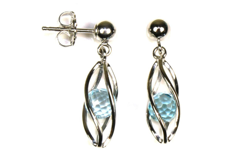 Caged Blue Topaz Earring