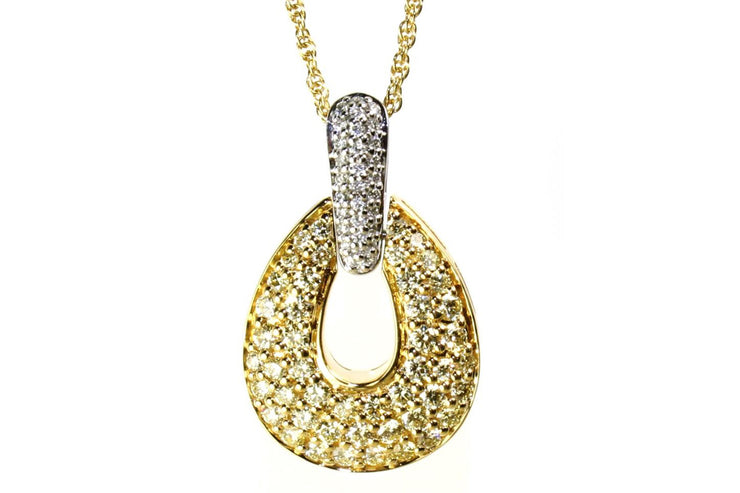 1.36ctw Yellow and White Diamond Dazzle Necklace