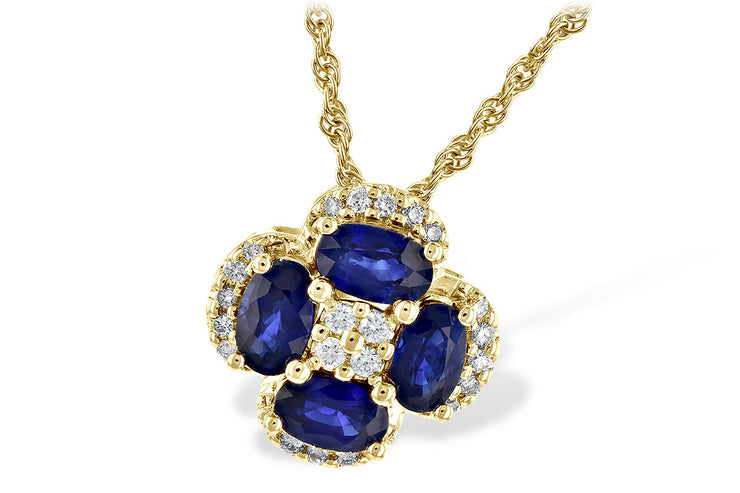 Blue Sapphire and Diamond Clover Necklace