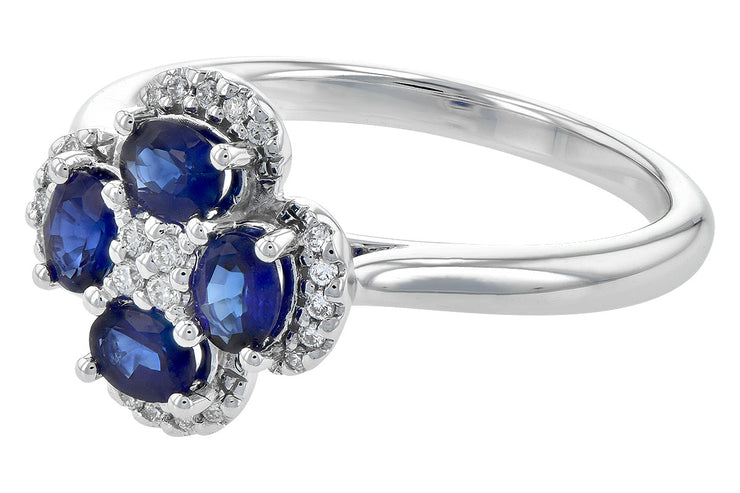 Blue Sapphire and Diamond Clover Ring