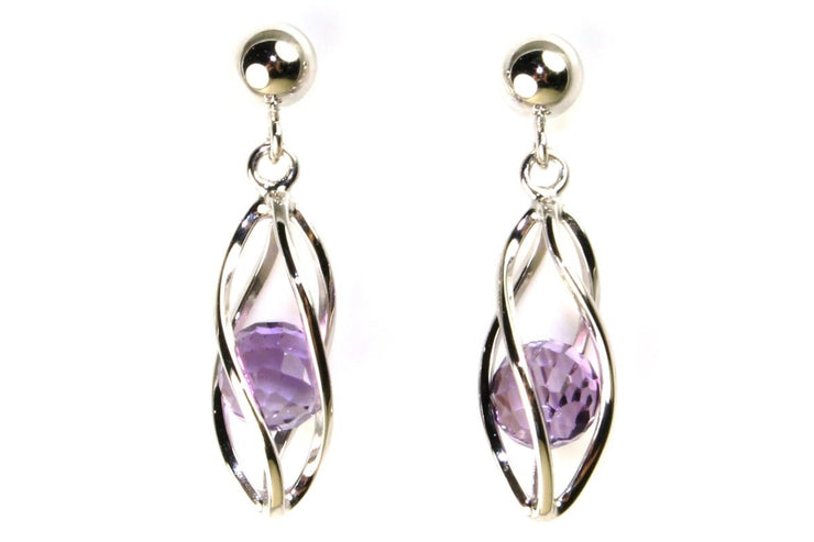 Caged Amethyst Earring
