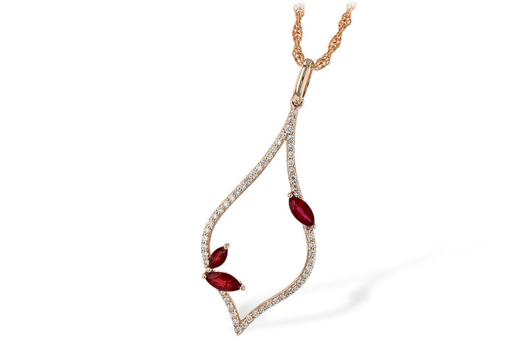Ruby and Diamond Teardrop Necklace