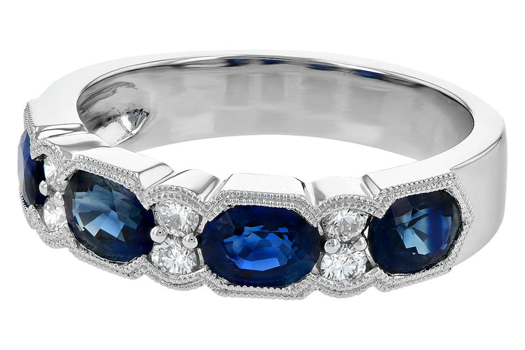 Oval Blue Sapphire and Diamond Band