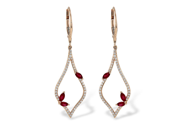Ruby and Diamond Teardrop Earrings
