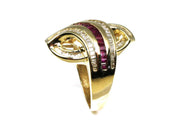 Ruby and Diamond Baguette Fashion Ring