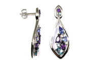 Multi Gemstone and Diamond Dangle Earrings