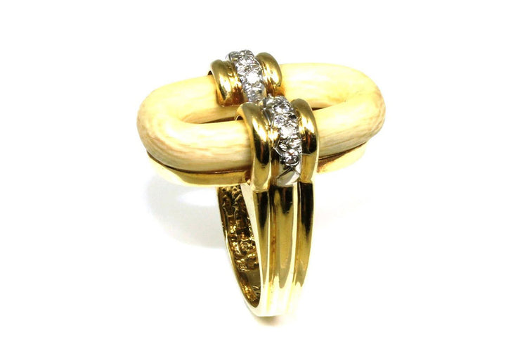 Ivory and Diamond Circle Ring