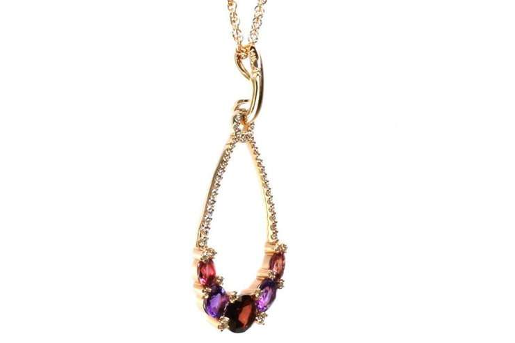 Garnet, Amethyst, and Pink Tourmaline Drop Necklace