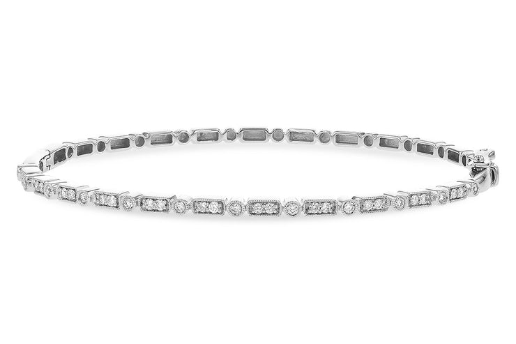 Diamond Rectangle Link Bangle Bracelet