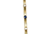 Blue Sapphire and Diamond Line Bracelet