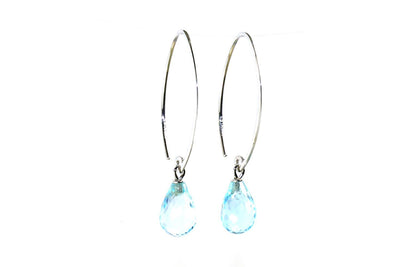 Simple Sweep Blue Topaz Earrings