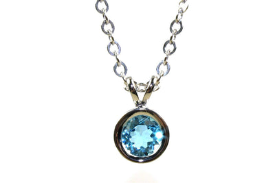 Blue Topaz Bezel Necklace