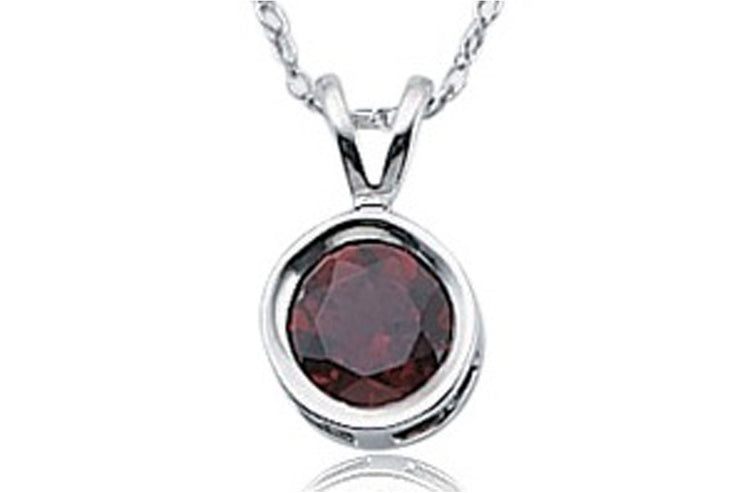 Garnet Bezel Necklace