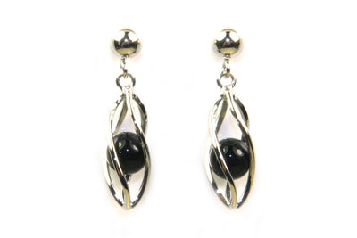 Black Onyx Caged Earrings