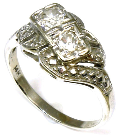 Transitional Cut Two Diamond Vintage Ring