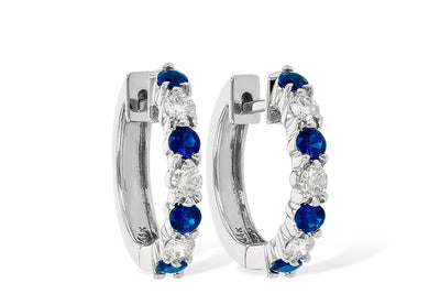 1.05ctw Sapphire and Diamond Hoop Earrings by Allison Kaufman
