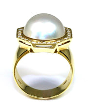 Mabe Pearl and Diamond Hexagon Halo Ring