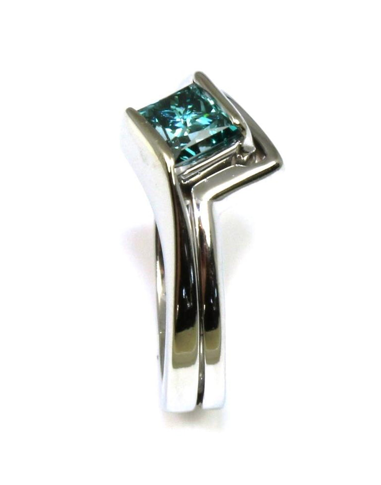 .75ct Treated Blue Diamond Bypass Ring
