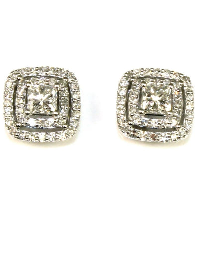 Princess Cut Double Halo .90ctw Diamond Earrings