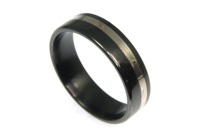 Black Zirconium with Sterling Silver Inlay