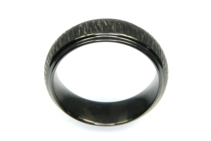 Bark Finished Black Zirconium Band