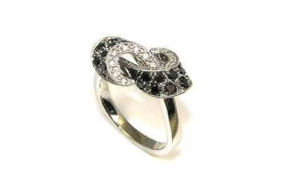 Black and White Diamond Twist Ring