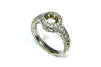 Bezel Set Halo Ring Setting for 1/2ct Round