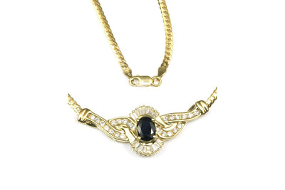 Fancy Blue Sapphire and Diamond Necklace