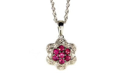 Ruby and Diamond Flower Essence Necklace
