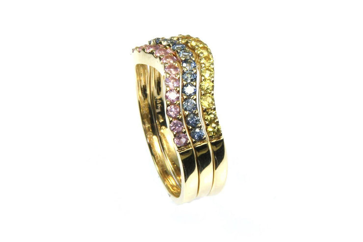 Three Multi Colored Sapphire Bands