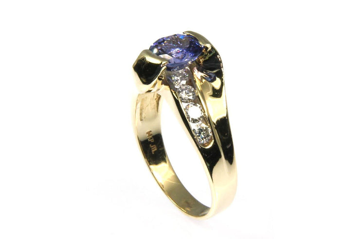 Bar Set Tanzanite and Diamond Ring