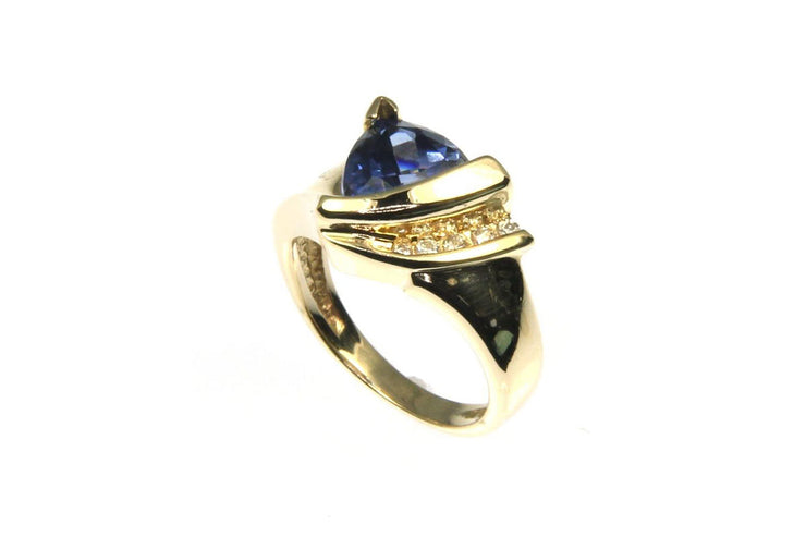 Created Sapphire and Diamond Ring