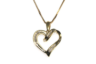 1/4ctw Diamond Baguette Heart Necklace