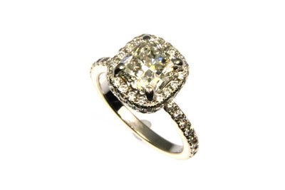 1.94ct Cushion Cut Diamond Halo Ring