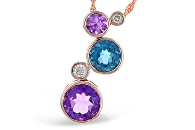 London Blue Topaz and Amethyst Bubble Necklace