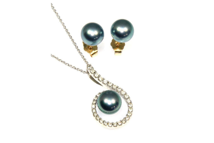 Black Pearl and Diamond Necklace with Matching Stud Earrings