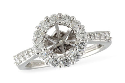 Diamond Halo Ring Setting for 1ct Round Gem